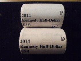 $10 Rolls Of 2014-p & D Kennedy Half Dollars Unc