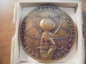 """3"""" Bronze Medal 1954 Light's Diamond Jubilee The 75th"""