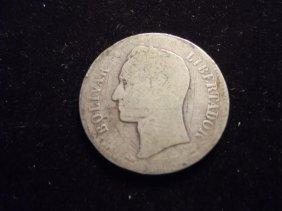 1905 Venezuela Silver 2 Bolivar