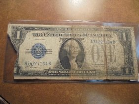 1928-a $1 Silver Certificate Funny Back Missing Piece
