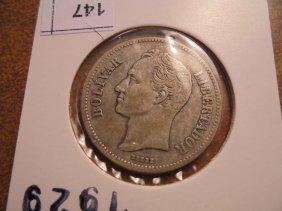 1929 Venezuela Silver 2 Bolivar
