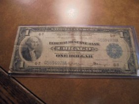 1918 Large Size $1 National Currency Chicago