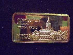 24kt Gold Plated 1 Oz. Silver Ingot Connecticut