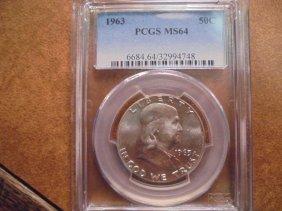 1963 Franklin Half Dollar Pcgs Ms64