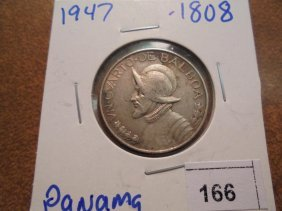 1947 Panama Silver 1/4 Balboa .1808 Oz. Asw