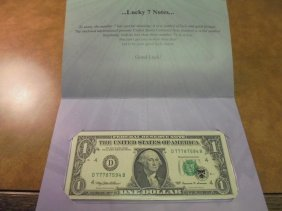1999 $1 Frn Lucky 7 Note Serial # Starts 777