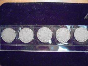 1911,12,13,14 & 15 Canada Silver 25 Cents