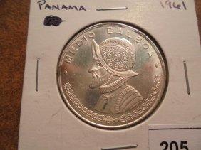 1961 Panama Silver Half Balboa Unc Toning Spot