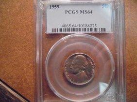 1959 Jefferson Nickel Pcgs Ms64