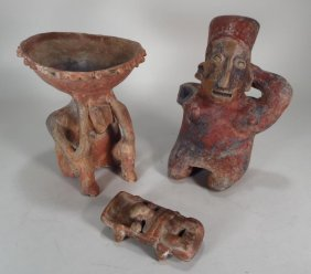 Jalisco Pottery Bed Figure And Other Figures.