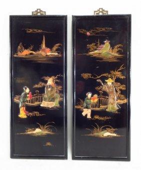 Decorative Asian Panels, 20th C.,