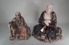 2 Polychrome Carved Wooden Buddas