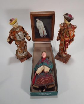 4 Asian Cloth And Carved Wood Dolls