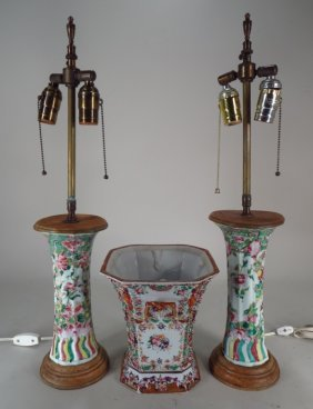 Pair Of Chinese Lamps And Export Style Vase