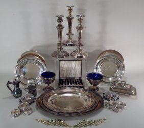Group Of 20th Century Silverplate Table Items