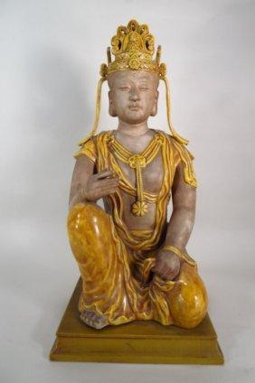 Large Glazed Ceramic Figure Of Bodhisattva, Asian