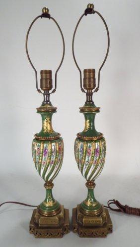 Pr Of Sevres Style Porcelain Lamps 20th C.
