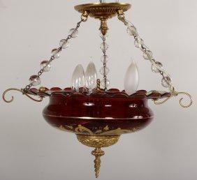 Hanging Parlor Light Fixture W/ Crystal Beads