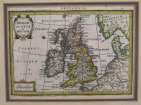 Mercator, Hondius Hand-colored Map Of Britannia