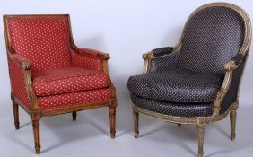2 French Bergeres: Louis Xvi Style Bergere & A 2nd