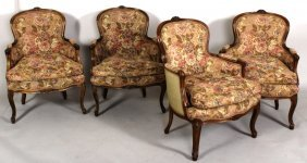 4 Louis Xv Style Bergeres, Fruitwood Finish