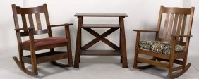 Arts And Crafts Rocking Chairs/table, E. 20th