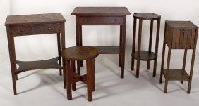Grp. Of 5 Mission Oak Tables,e 20th