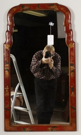 Queen Anne Style Red Lacquer Mirror
