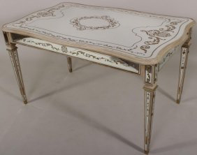 Gilt Stenciled Eglomise Mirrored Table