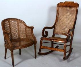 2 Chairs, Incl. Am. Rocker & A Louis Xvi Armchair