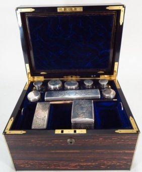 Calamander Brass Mounted Travel Box, English, 19th