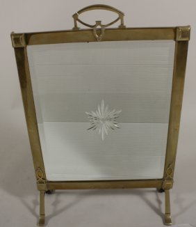 Brass Fire Screen With Mirror And Starburst