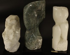 Three Alabaster Abstract Carved Sculptures