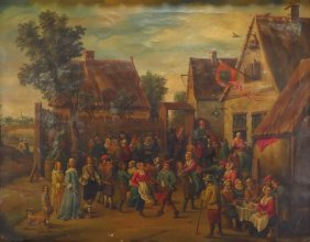 Flemish Style Painting, Peasants, O/c