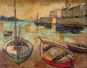 "Charles Levier, ""barques En Corse"", O/c"