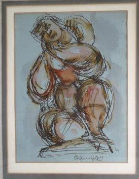 Chaim Gross W/c Portrait Of A Woman