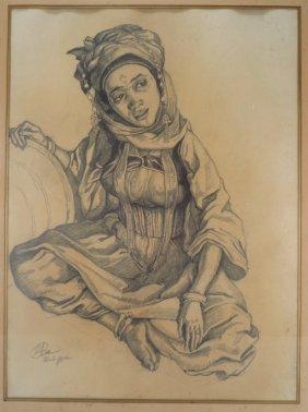 George Baer, Am., Algerian Woman, Drawing