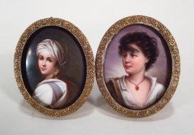 Two Portrait Miniatures On Porcelain, 19th C.