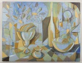 Arnold Weber, Blue Still Life O/c