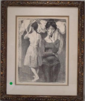 Raphael Soyer, Am.,two Young Women, Lithograph