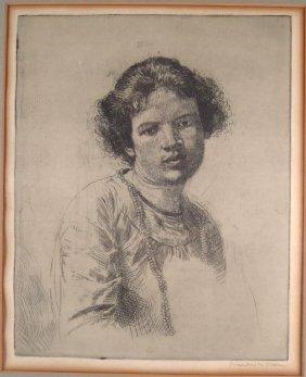 Augustus Edwin John, Etching, Lady W/ Neckalce