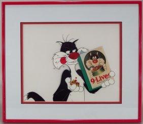 Sylvester Cat 9 Lives Commercial Cel