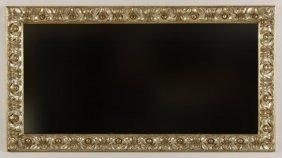 Wood Carved Silver Gilt Rectangular Mirror