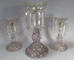 Three French Baccarat Lustres