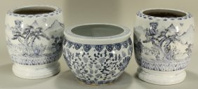 Group Of Chinese Blue And White Jardinieres.