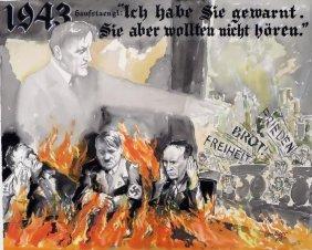 George Baer, Am., Adolf Hilter, Dachau,w/c,ink