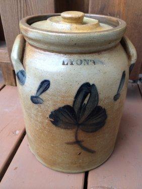 Lyons New York Stoneware Jar