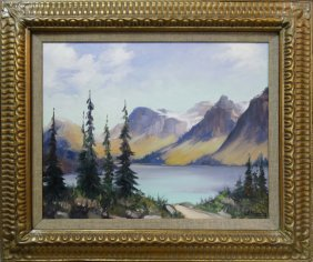 Mid-century Oil Painting Landscape By J. Rinal, 1975