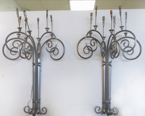 Monumental Mid-century Modern Iron Wall Sconces Pair