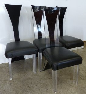 Set Of 4 Mid-century Lucite Dining Chairs